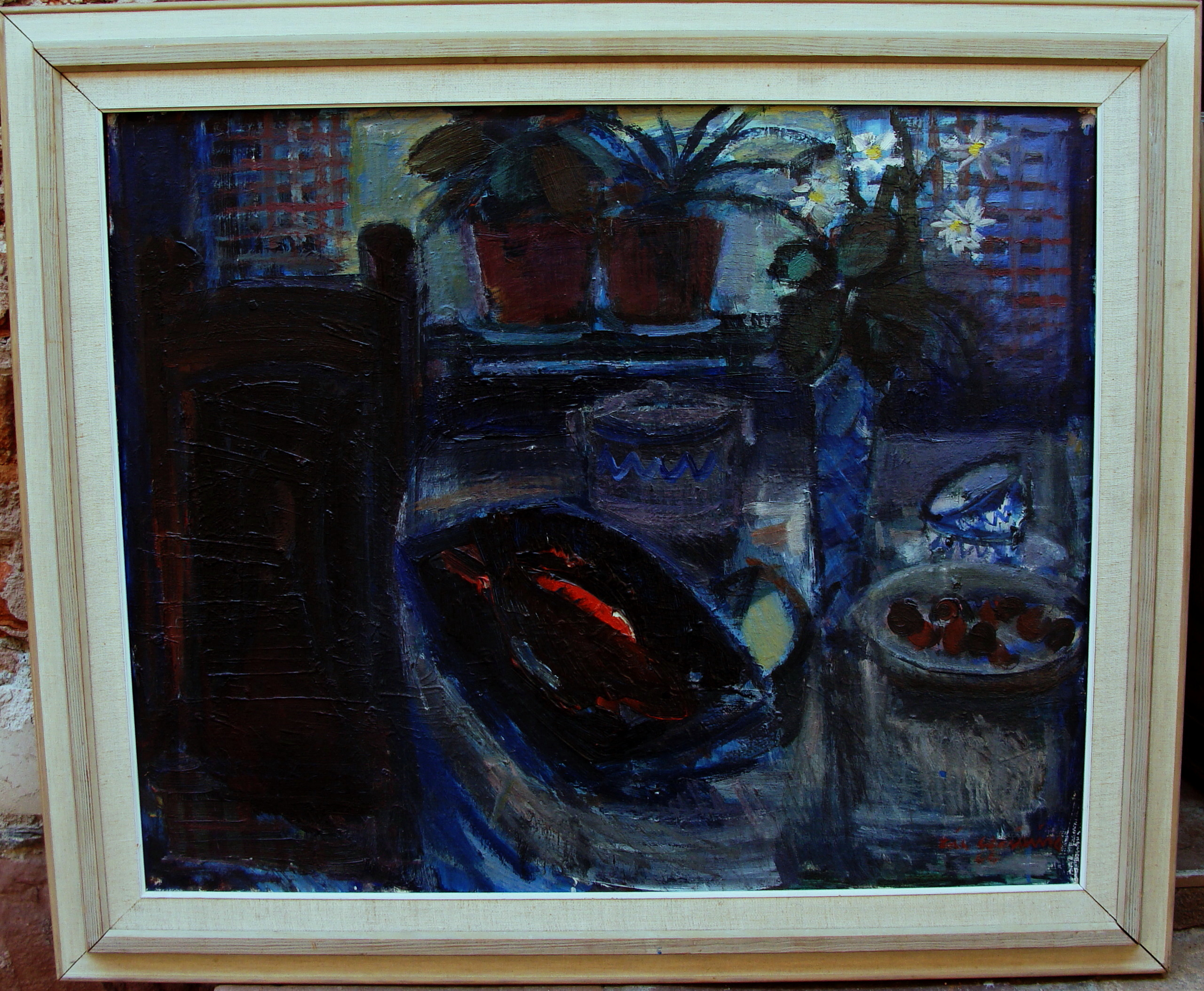 eric westling 1920 still life with fish outside the window dated 1966 ebay. Black Bedroom Furniture Sets. Home Design Ideas